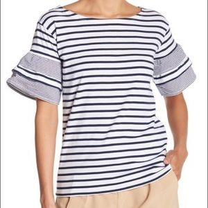 Romeo & Juliet Couture Striped Bell Sleeve Tee NEW